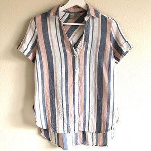 ASOS Striped Cotton Linen Button Up Shirt